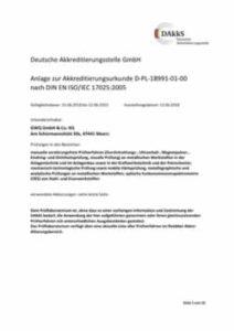 Anlage zur Akkreditierung D-PL-18991-01-00